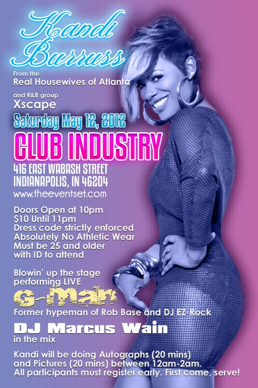 Flyer Design for Kandi Burruss at Club Industry May 12, 2012 (back)