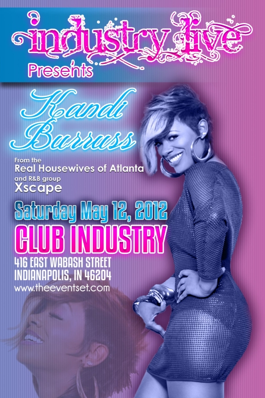 Flyer Design for Kandi Burruss at Club Industry May 12, 2012 (front)