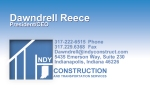 Indy Construction Business Card Front